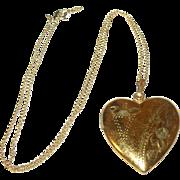 Vintage Gold Filled Heart Shaped Locket  Sterling/Vermeil Necklace