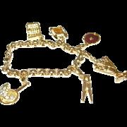Vintage Monet Charm Bracelet 6 Charms