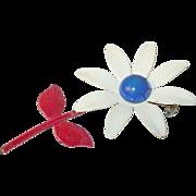Vintage Patriotic Brooch Red, White, Blue Flower