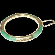 Vintage Jade Gold Filled Hinged Bangle