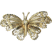 Vintage Brooch 800 Coin Silver Butterfly Filigree Work