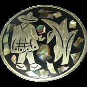 Vintage Alpaca Silver Plate Brooch Pendant Inlaid Work