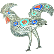 Vintage 900 Coin Silver Enameled Rooster Brooch