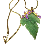 Vintage Gold Filled Necklace Faux Amethyst Faux Jade