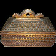 Vintage Folk Art Tramp Art Box
