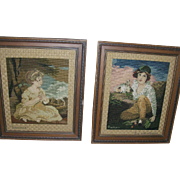 Vintage Needlepoint Portraits Framed Pair