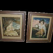 Vintage Needlepoint Portraits Framed Pair