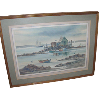 Vintage Seascape Water Color by R. Torre