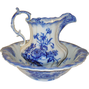 Vintage Flow Blue Pitcher/Wash Bowl England Harley