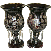 Vintage Bohemian Cut Glass Mantel Lamps/Prisms