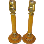 Vintage Bakelite Candlestick Lamps by Indulite NY