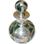 Vintage Perfume Bottle Sterling over Glass Forest Green 1890's