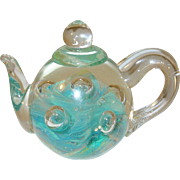 Vintage Art Glass Paperweight Dynasty Gallery Teapot