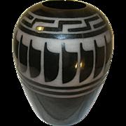 Vintage Black on Black Pottery Vase Feather/Greek Key Design