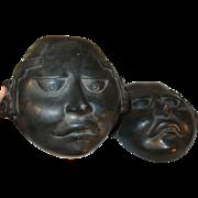 Vintage Pair Black on Black Art Pottery Masks