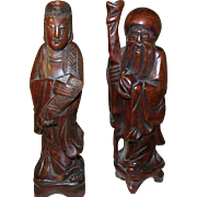 Vintage Wooden Sculptures 1930's Chinese Figures