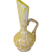 Vintage Venetian Art Glass Vase Hand Applied Handle 1890--1900