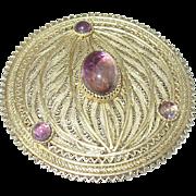 Edwardian 900 Coin Silver/Vermeil Brooch Cabochon Amethysts