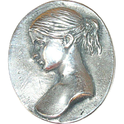 Art Nouveau Sterling Repousse Brooch/Pendant Ladies Bust