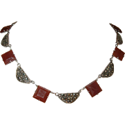 Art Deco Sterling Marcasite/Carnelian Link Necklace
