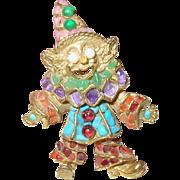 Vintage Brooch by Swoboda Clown Semi-Precious Stones