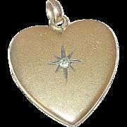 Vintage Gold Filled Heart Locket Faux Diamond