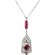 Art Deco Lavaliere Necklace Faux Rubies