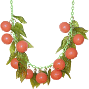 Vintage Fruit Necklace Plastic Fruit/Glass Leaves