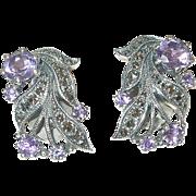 Vintage Sterling Earrings Marcasite/Amethyst by H. Vintage