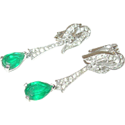 Vintage Panetta Faux Emerald Drop Earrings