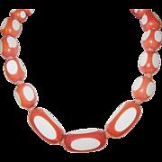 Vintage Early Plastic Necklace Orange White Polka Dot
