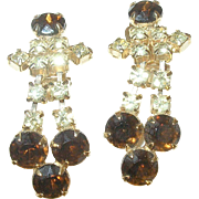 Vintage Rhinestone Earrings Chandeliers