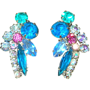 Vintage Rhinestone Earrings Multicolored