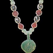 Vintage Jade Necklace Lg Pendant