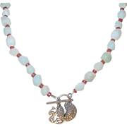 Vintage Oriental Sterling Jade Necklace