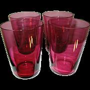 Vintage Cranberry Glass Tumblers Set of 4