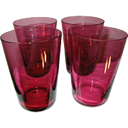 Vintage Cranberry Glass Tumblers Set of 4
