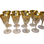 Vintage Elegant Glass Cordial Set 9 pcs