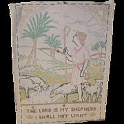 Vintage Sampler Shepherd with Sheep
