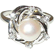 Vintage 14K Ring Diamond Fresh Water Cultured Pearl