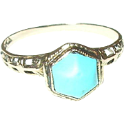Edwardian 10K Turquoise Ring Open Work