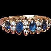 Vintage 14K Ring Diamond Blue Sapphire