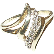 Vintage 14K Ring Diamonds Modernist Design