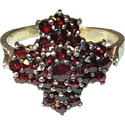 Vintage Sterling Adjustable Garnet Ring
