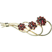 Vintage Garnet Brooch Gold Filled