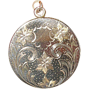 Art Nouveau Lg Locket Rolled Gold Hand Chased