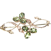 Edwardian 10K Green Tourmaline Brooch
