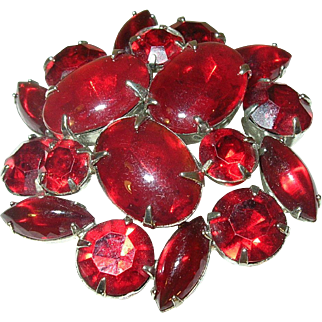 Vintage Weiss Red Cabochon Brooch Spectacular Piece