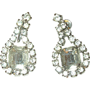 Vintage Earrings Drop Rhinestones