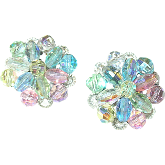 Vintage Earrings Multicolored Crystals